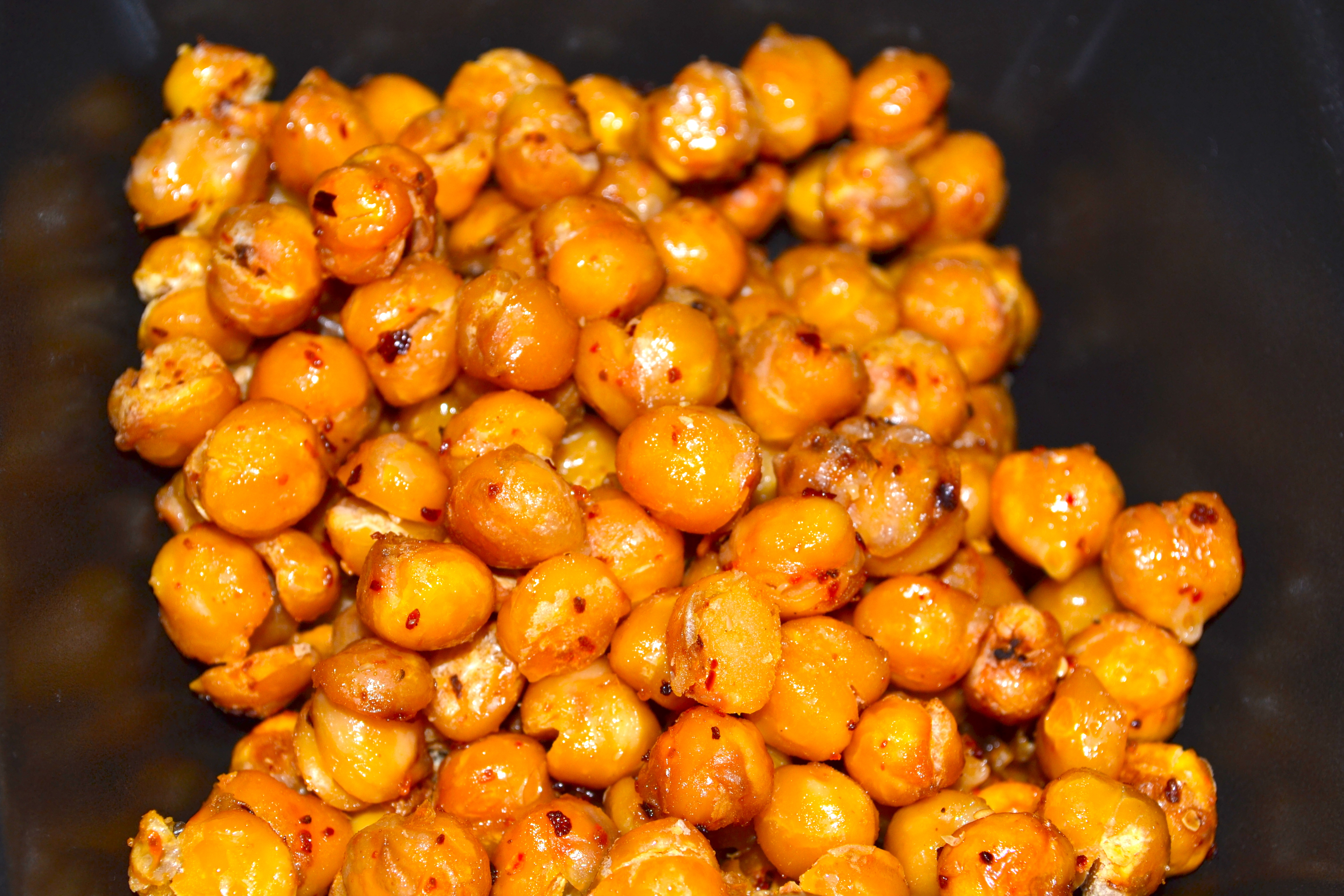Roasted chickpeas as a snack.